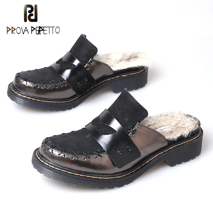 Prova Perfetto Winter Women Rabbit Fur Slingback Closed Toe Slipper Genuine Leather Patchwork Leisure Street Shoes for Ladies pu closed toe color block slingback shoes