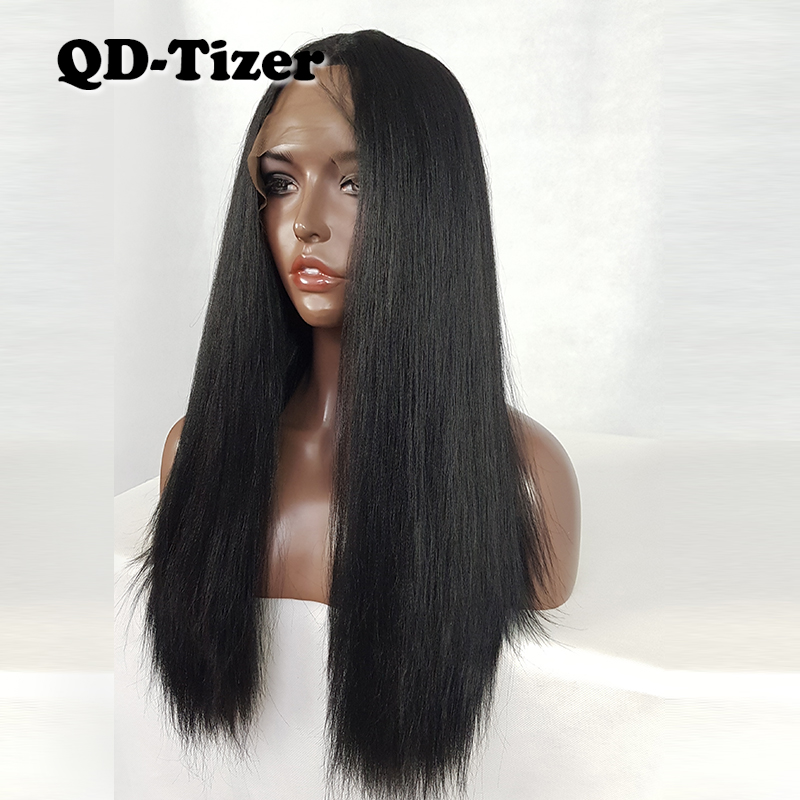 QD Tizer Yaki Straight Black Synthetic Lace Front Wigs 1B Glueless Heat Resistant Fiber Replacement 180