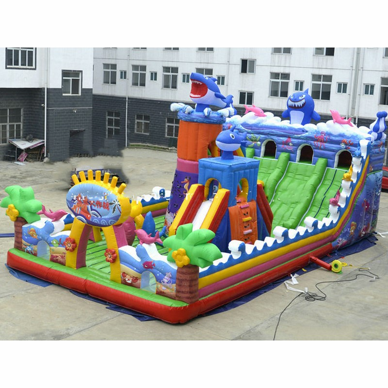 Commercial Big Shark Inflatable Playground Funny Inflatable Fun City Giant Inflatable Bouncy Castle With Obstacle