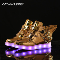 CCTWINS KIDS 2017 Spring High Top USB Rechargeable Lighted Girl Brand Trainer Baby Boy Shoe LED