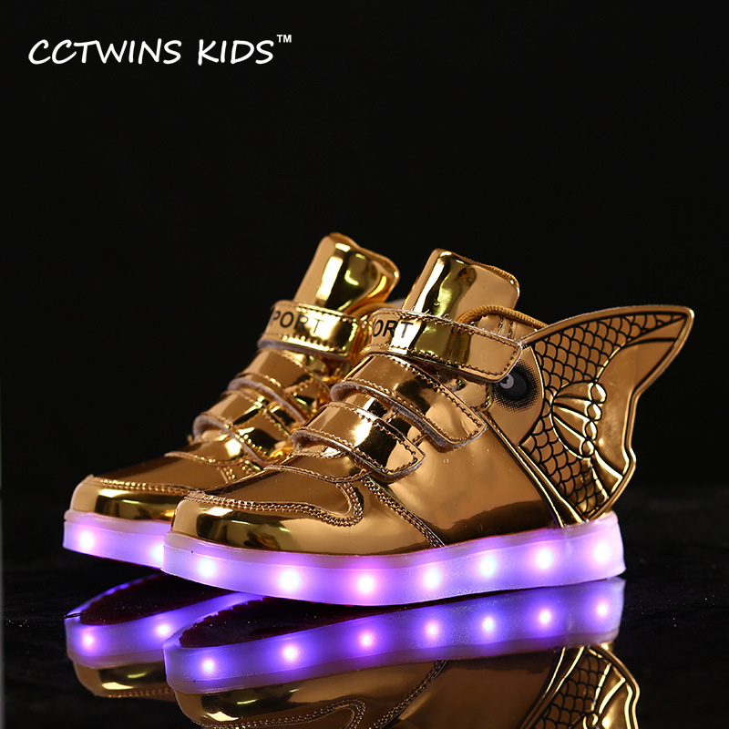 CCTWINS KIDS 2017 Spring High Top USB Rechargeable Lighted Girl Brand Trainer Baby Boy Shoe LED Children Fashion Sneaker F1312 children roller sneaker with one wheel led lighted flashing roller skates kids boy girl shoes zapatillas con ruedas