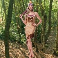 Хэллоуин Карнавал Маскарадный костюм платье леди секс платье индийский костюм женщин Покахонтас взрослых нарядное платье