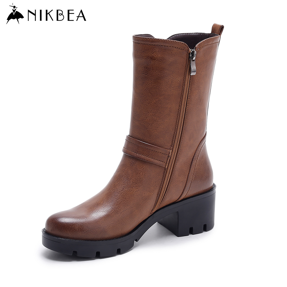 Nikbea Chunky Platform Boots Women Warm Mid Calf Boots 2016 Winter Boots Autumn Shoes Fashion Botas Feminina Outono Inverno Pu riding boots chunky heels platform faux pu leather round toe mid calf boots fashion cross straps 2017 new hot woman shoes