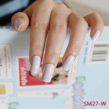 24pcs Hot new design beautiful delicate oval candy cute fake nails nail color White M W