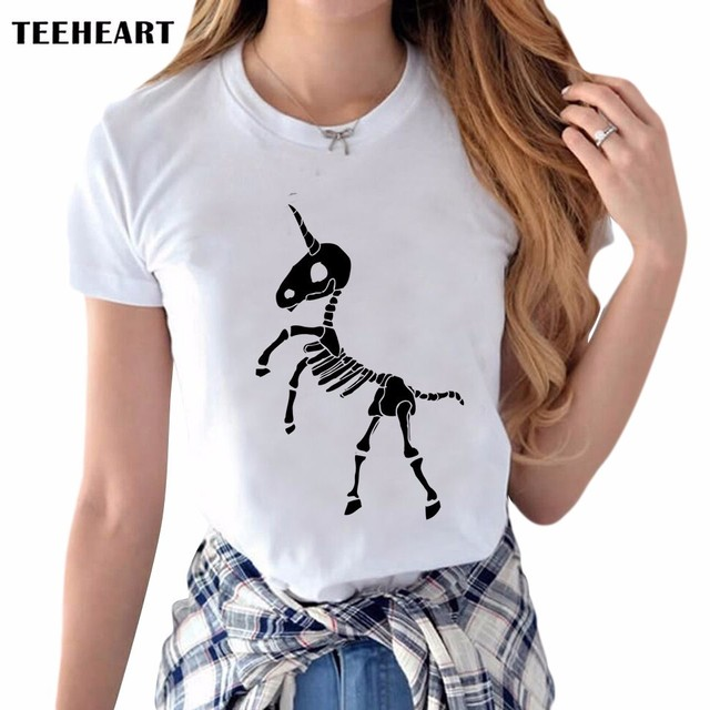 63ec2419d Latest Women's Creative Skull T-shirt Retro Unicorn Printing Tee Shirts  Hipster O-neck Short Sleeve Casual Popular Tops