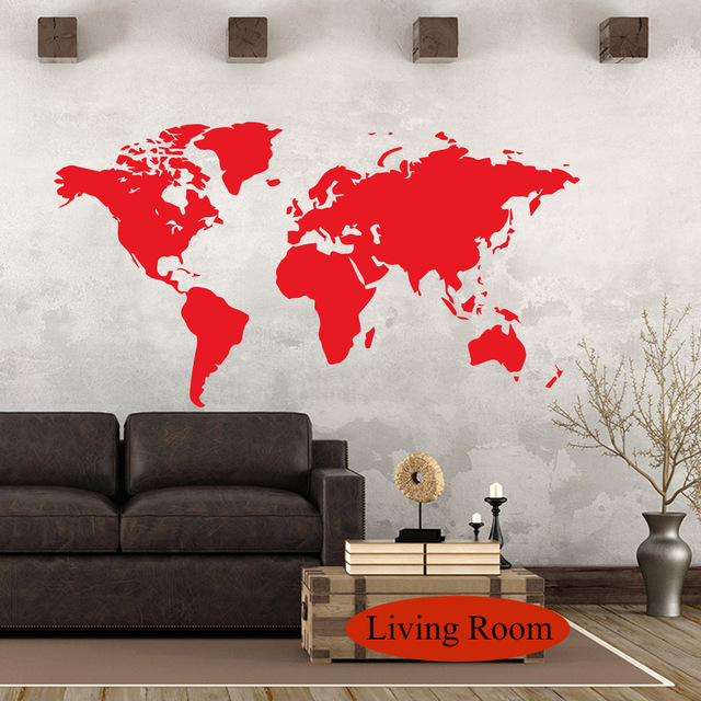 106X58 cm Wall Sticker World Map