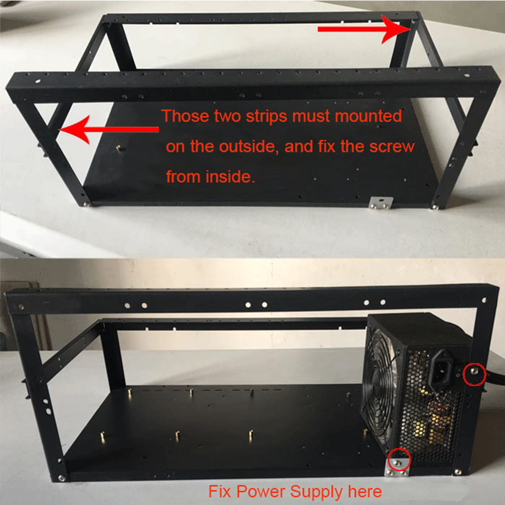 Steel Coin Open Air Miner Mining Frame Rig Case Up to 8 GPU BTC LTC ETH