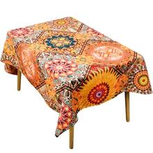 Ethnic style tablecloth retro cotton linen art square round table cloth