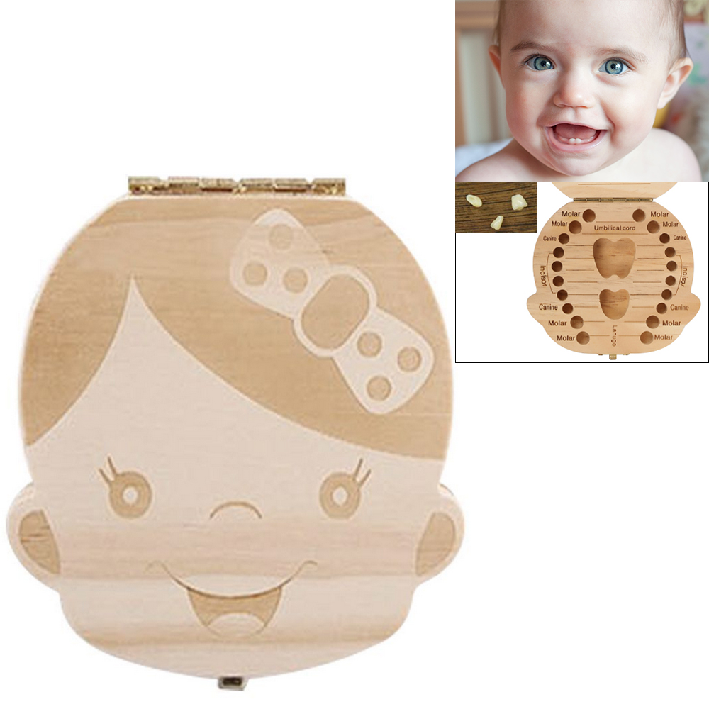 English Wooden Tooth Box Baby Milk Teeth Save Organizer Kids Boy Girl Wood Storage Boxes Collect