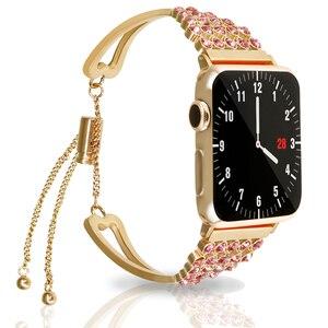 44 мм 40 мм ремешок для Apple watch band 4 3 iwatch correa 42 мм 38 мм женский браслет из нержавеющей стали со стразами аксессуары для часов