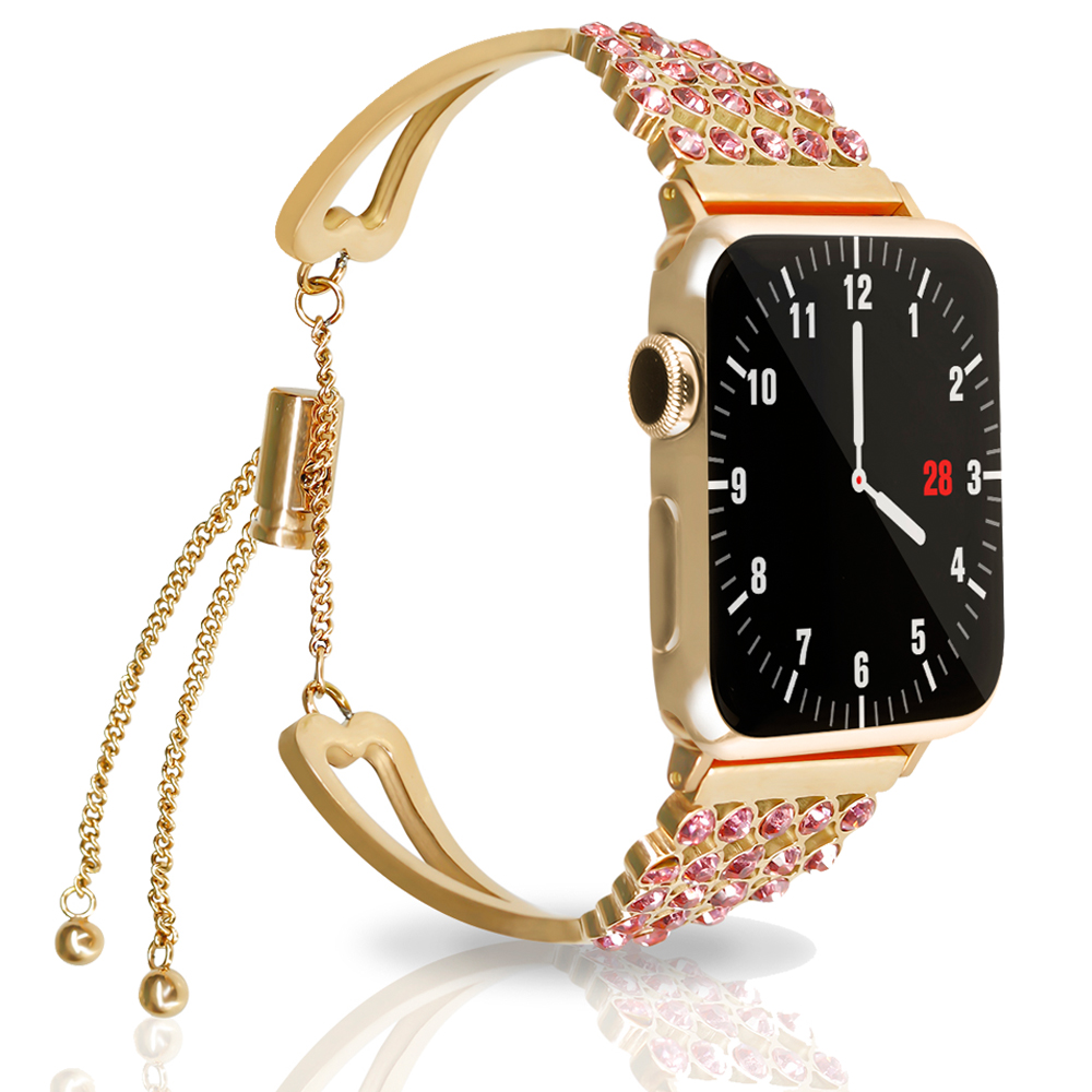 44mm 40mm Strap For Apple watch band 4 3 iwatch correa 42mm 38mm Woman Diamond Stainless Steel link Bracelet watch Accessories