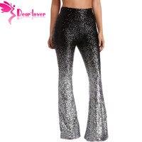 Dear Lover Wide Leg Disco Fashion Sequin Black Sliver Trousers Women High Waist Long Flare Pants Club Wear Stage Dance LC77148