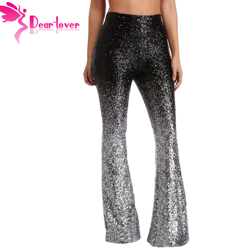 Dear Lover   Wide     Leg   Disco Fashion Sequin Black Sliver Trousers Women High Waist Long Flare   Pants   Club Wear Stage Dance LC77148