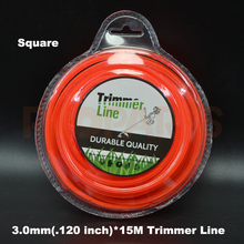 3.0mm 0.120″ X 15M Square Shape Orange Color Brush Cutter Grass Trimmer Nylon Line Wire