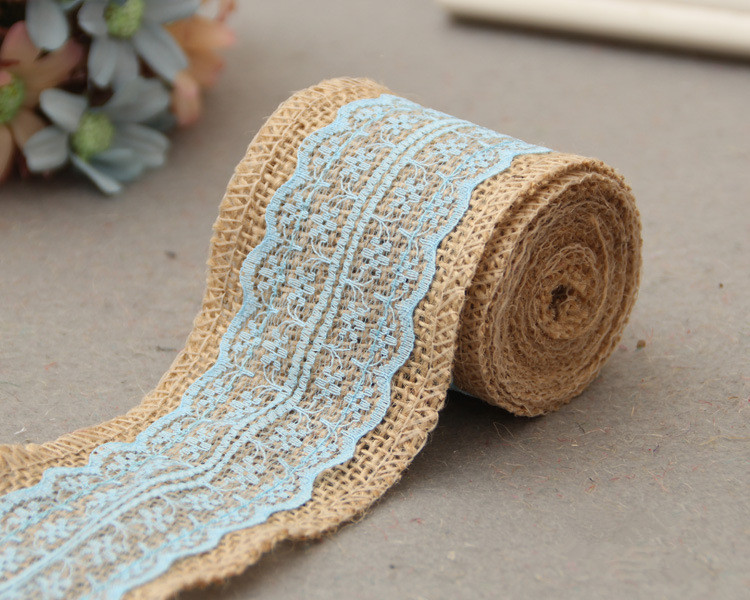 free shipping 6cm wide x 2mroll light blue lace with natural burlap ribbon rustic wedding decor christmas gift linen wrapping