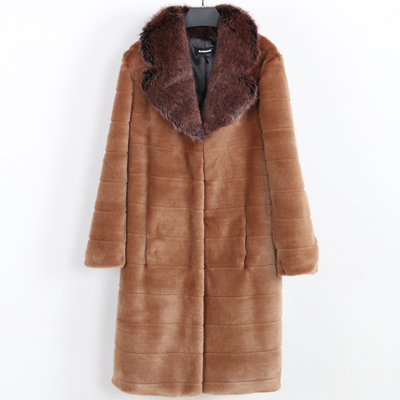 Nerazzurri Faux Fur Coat Women Autumn Winter Fluffy Outwear With Fox Fur Collar Long Sleeve Striped Plus Size Mink Fur Overcoat