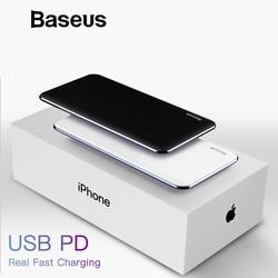 Baseus PD USB de carga rápida banco de potencia para iPhone Xs Max XR 2018X8 8 Plus Powerbank 3A carga rápida USB tipo C Banco de la energía