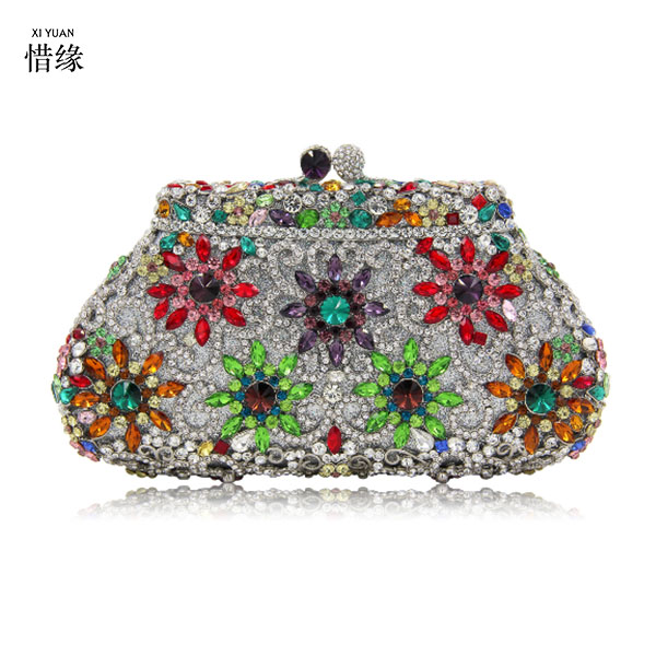 XIYUAN BRAND party wedding prom evening clutch bags luxury diamond clutch  evening bags studded crystal wedding Bride party purse-in Top-Handle Bags  from ... 4fa4bc729667