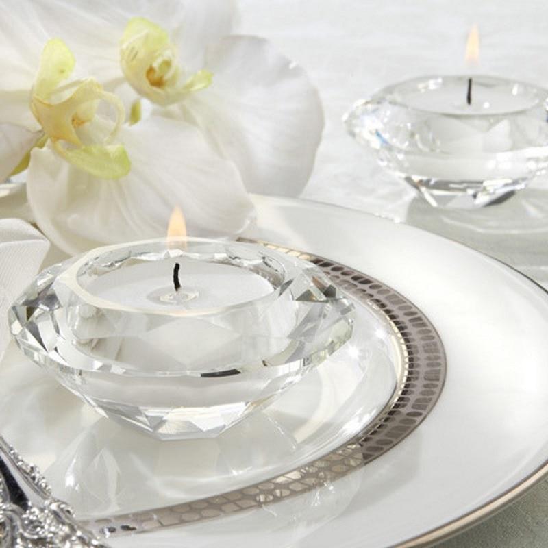 50pcs Wedding Candle Favors Crystal Diamond Shape Heart Shape