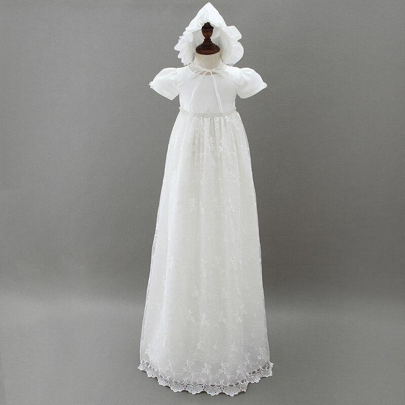 Haut de gamme bébé fille robes de baptême nouveau-né baptême dentelle princesse infantile longue traînée robe 1 an fête d'anniversaire porter 2 pièces