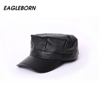 2017 High Quality Genuine Leather Flat Peak Military Hats For Women Men S Caps Autumn Winter