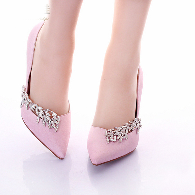 Fashion Pointed Toe Pink Banquet Dress Shoes Satin Prom High Heel ...