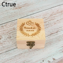 Rustic Ring Bearer Box With Lock 50pc love heart Personalize Customized Wedding Save Date Name Gift Wooden ring holder box