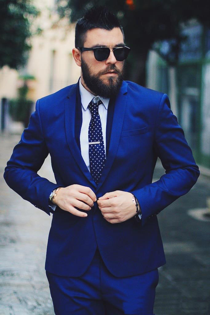 Blue Men Suits Sli Fit Blazer Business Suits Formal Wedding Suits Bridegroom Tailored Tuxedos Terno Masculino(Jacket+Pant