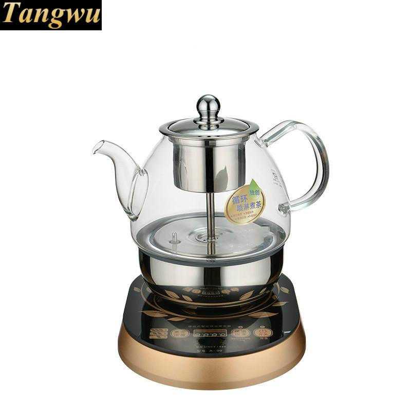 Fully automatic tea kettle electric teapot boiling black pu 'er glass pot coffee machine stove electric pottery furnace tea pot 4 file mute mini knob control tea hot water boiler black microlite panel stove boiling machine