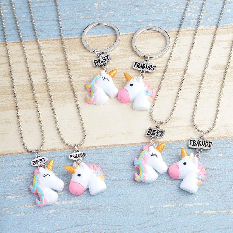 NEW Design 2Pcs/Set Unicorn Pendant Necklaces For Children Boys And Girls Best Friends Friendship Necklace Chain Jewelry