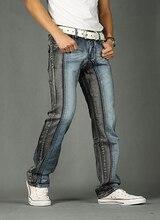 2016 Новый Летний Стиль Мужские Джинсы Мода Известный Дизайнер Хлопка Случайные Прямые Лоскутные Джинсы Мужчин мужские джинсы Плюс размер