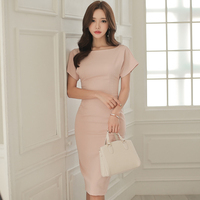 Ladies Backless Grace Sexy Bodycon Midi Dresses Women Short Sleeve Solid Brief Party Pencil Cloth Summer 2018