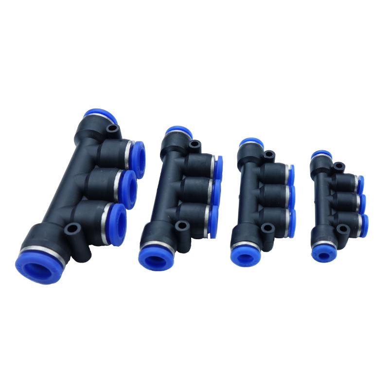 Air Pneumatic Fitting 5 Way One Touch Push In 5 Way Gas Quick Fittings Manifold 8mm 10mm 6mm 4mm OD Hose Tube home improvement pneumatic air 2 way quick fittings push connector tube hose plastic 4mm 6mm 8mm 10mm 12mm pneumatic parts
