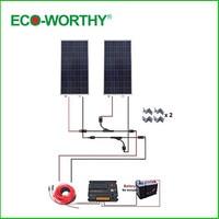 ECO WORTHY США DE со 300 Вт 12 В решетки Полный комплект: 2*150 Вт Панели солнечные w/Температура Reguator