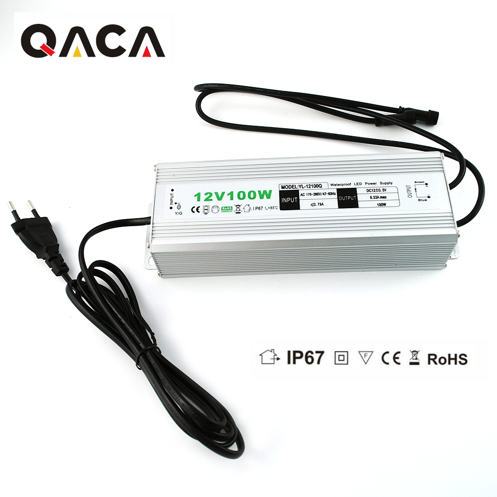 Output DC 12V 100W Waterproof IP67 LED Driver Outdoor Use AC Converter Adapter Power Supply for LED Lighting Transformer ac 85v 265v to 20 38v 600ma power supply driver adapter for led light lamp