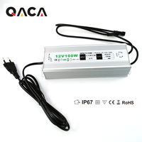 Output DC 12V 100W Waterproof IP67 LED Driver Outdoor Use AC Converter Adapter Power Supply for LED Lighting Transformer