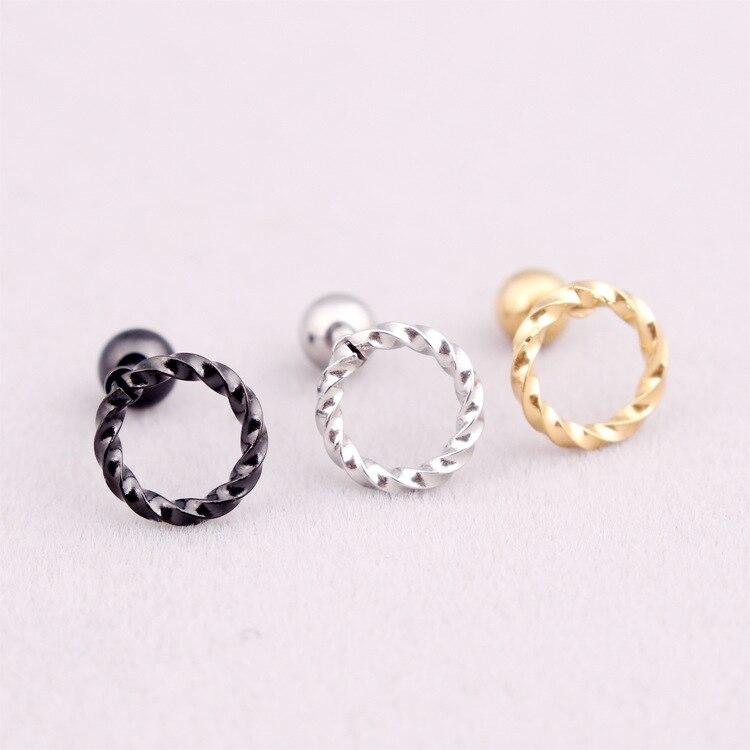 Fashion Women Men Punk Round Circle Studs Silver Gold Black Titanium Steel Hemp Flowers Geometric Circle Stud Earrings Jewelry