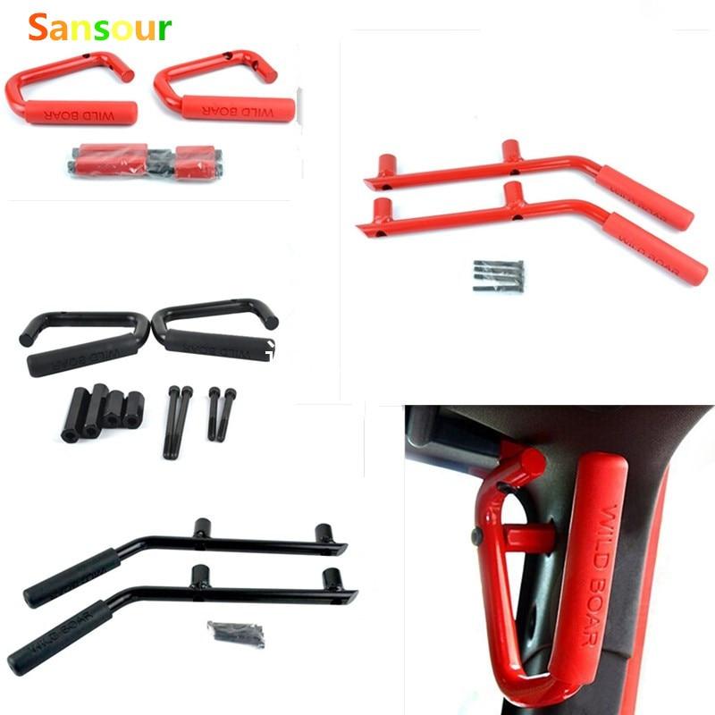 Sansour For Jeep Wrangler Rubicon JK 2 & 4 Door 2007-2016 Grab Bar Front & Rear Hard Mount Solid Steel Wild Boar Grab Handle