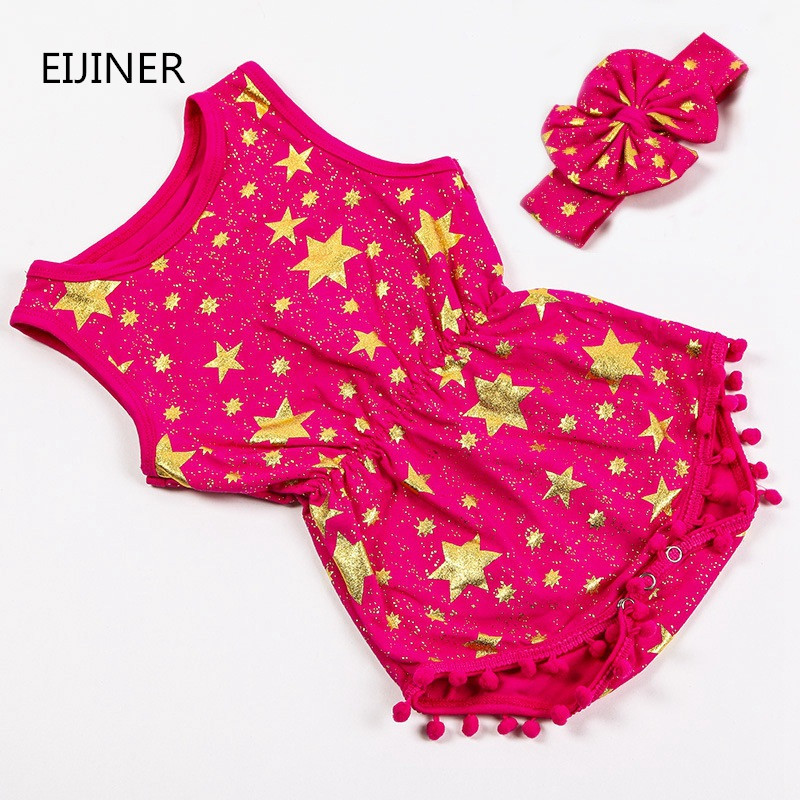 2017 Summer Newborn Baby Girl Romper New Cotton Baby Girls Clothes Stars Baby Rompers for Girls Kids Jumpsuit+Headband summer newborn baby rompers ruffle baby girl clothes princess baby girls romper with headband costume overalls baby clothes