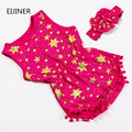 2017 Summer Newborn Baby Girl Romper New Cotton Baby Girls Clothes Stars Baby Rompers for Girls Kids Jumpsuit+Headband