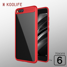 For Xiaomi Mi 6 Case Luxury Silicone Frame Transparent Back Cover for Xiaomi Mi6 Case KOOLIFE Brand Phone Case for Xiaomi6 Cover(China)