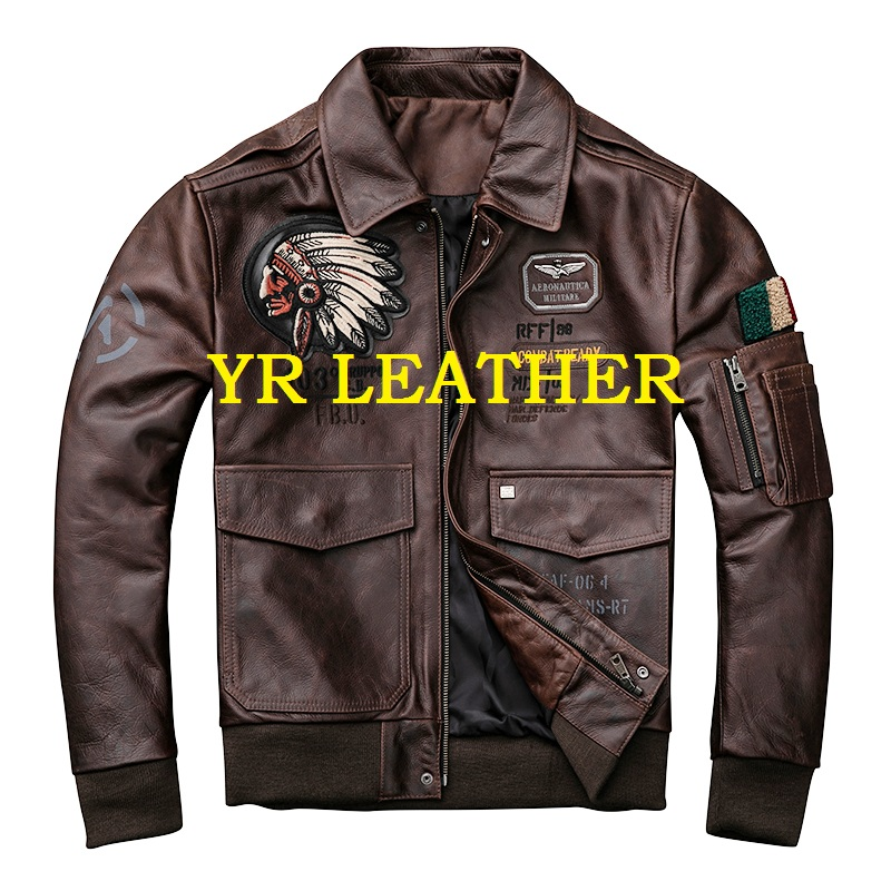 YR!Free shipping.Brand new mens plus size genuine leather jacket,cowhide coat,bomber leather jackets.brown vintage motor biker
