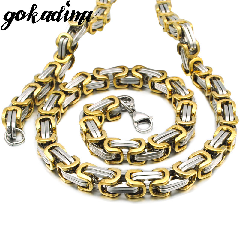 GOKADIMA Christmas Gift, Heavy Hip Hop Rock Byzantine Chain Necklace For Men Top Quality Stainless Steel Necklace Jewelry WN076 beier stainless steel men fashion jewelry high quality pulseira masculina byzantine chain link necklace for women bn1038