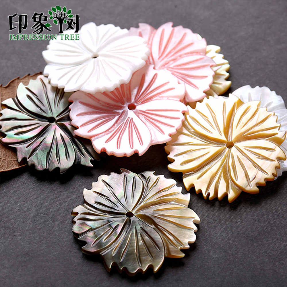 5pcs 28mm Color Natural Seashell Flower Beads Mother Of Pearl Shell Carven Flower Petals Shell Beads DIY Jewelry Making 19022