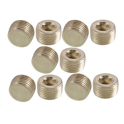 10 Pcs 3/8 PT Thread Metal Internal Hex Head Socket Pipe Plugs Free shipping 6 pcs air pipe fittings 1 4pt male thread hex socket brass plugs caps