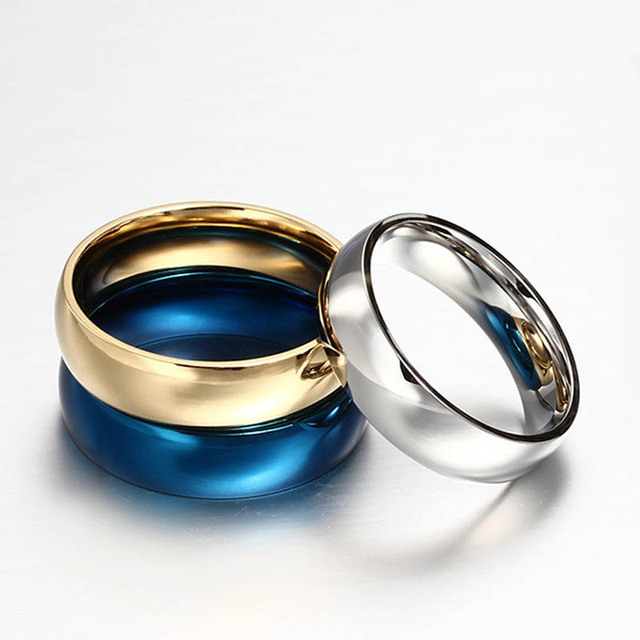 Top Quality men ring vintage gold/silver/blue plated stainless steel rings for women classic wedding rings fine jewelry LR20