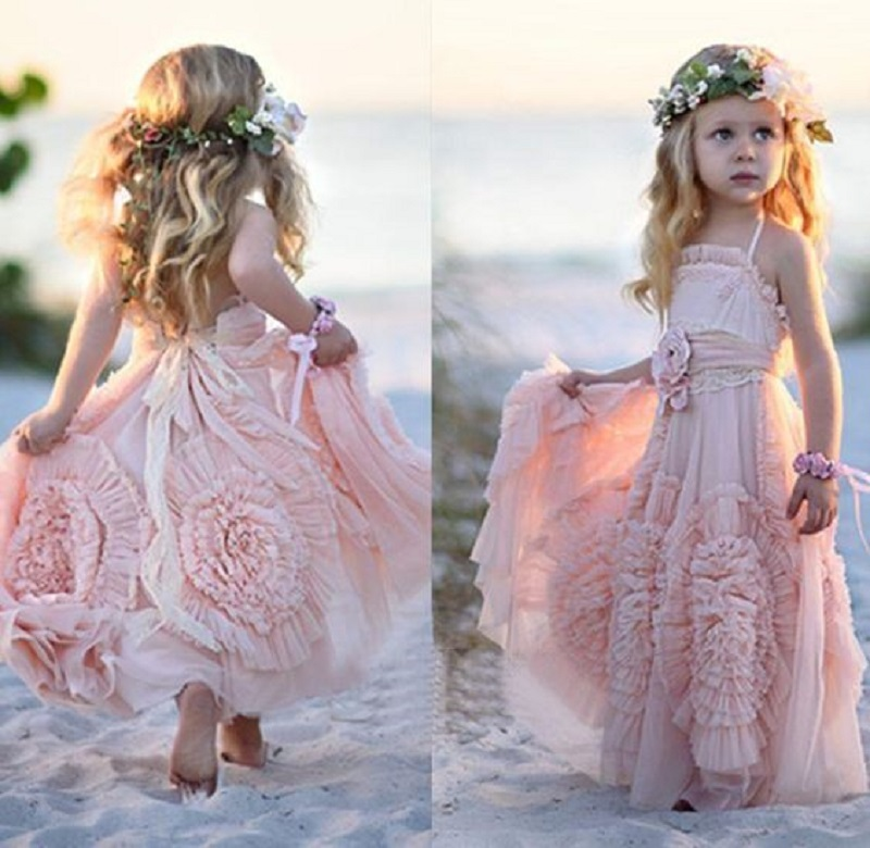 Buy chiffon pink long halter beach flower for Wedding dresses for young girls