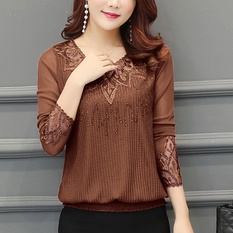 fall Women Shirt hollow out Long Sleeve Embroidery Sequin Bead Lace Mesh Blouse Shirt Plus Size knitted Top Blusa Feminina 952J5