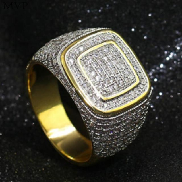 FANALA HIP Hop Micro Pave Rhinestone Iced Out Bling Square Ring IP Gold  Filled Titanium Stainless Steel Rings for Men Jewelry c38f4311b190