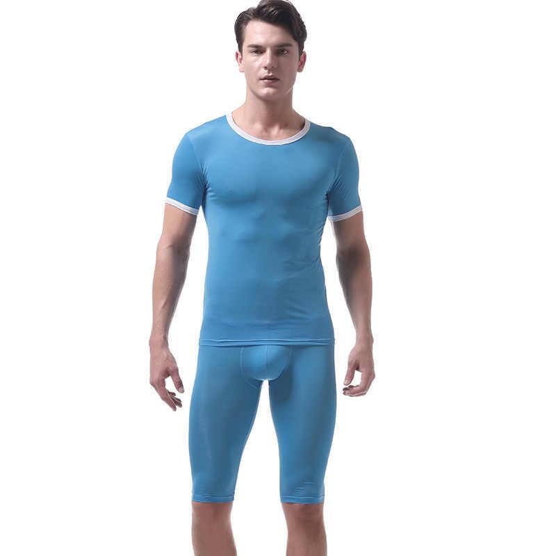 섹시한 남자 Undershirt 망 싱글 세트 짧은 소매 슬림 맞는 T 셔츠 반바지 얇은 스판덱스 게이 남성 운동 셔츠 스웨트